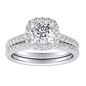 MERILYN Halo Diamond Wedding Ring Set In 14K White Gold