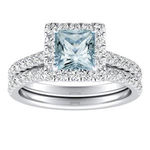 MERILYN  Halo  Aquamarine  Wedding  Ring  Set  In  14K  White  Gold  With  1.00  Carat  Princess  Stone