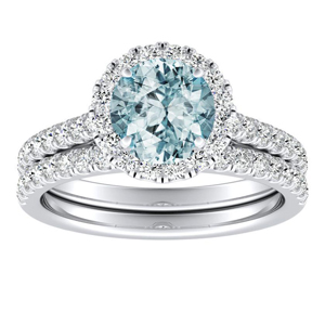 MERILYN  Halo  Aquamarine  Wedding  Ring  Set  In  14K  White  Gold  With  1.00  Carat  Round  Stone