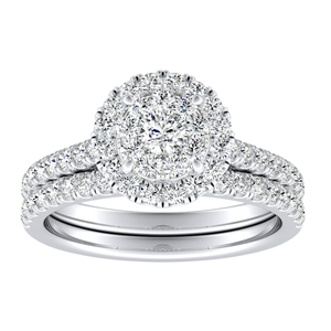 MERILYN Halo Diamond Wedding Ring Set In 14K White Gold With 0.25 Carat Round Diamond In H-I SI1-SI2 Quality