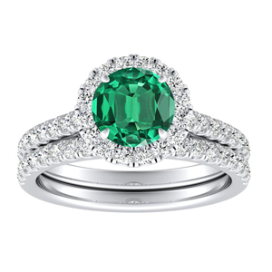 <span>MERILYN</span> Halo  Green  Emerald  Wedding  Ring  Set  In  14K  White  Gold  With  0.50  Carat  Round  Stone