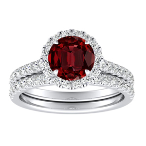 MERILYN  Halo  Ruby  Wedding  Ring  Set  In  14K  White  Gold  With  0.50  Carat  Round  Stone