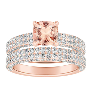 ALEXIA  Classic  Morganite  Wedding  Ring  Set  In  14K  Rose  Gold  With  1.00  Carat  Cushion  Stone