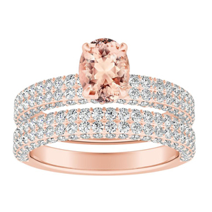 ALEXIA  Classic  Morganite  Wedding  Ring  Set  In  14K  Rose  Gold  With  1.00  Carat  Oval  Stone