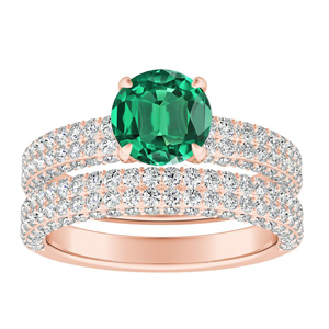 ALEXIA Classic Green Emerald Wedding Ring Set In 14K Rose Gold With 0.50 Carat Round Stone