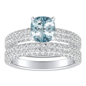 ALEXIA  Classic  Aquamarine  Wedding  Ring  Set  In  14K  White  Gold  With  1.00  Carat  Cushion  Stone