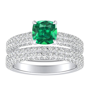 ALEXIA  Classic  Green  Emerald  Wedding  Ring  Set  In  14K  White  Gold  With  0.50  Carat  Cushion  Stone