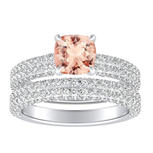 <span>ALEXIA</span> Classic  Morganite  Wedding  Ring  Set  In  14K  White  Gold  With  1.00  Carat  Cushion  Stone