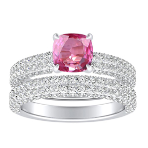 ALEXIA  Classic  Pink  Sapphire  Wedding  Ring  Set  In  14K  White  Gold  With  0.50  Carat  Cushion  Stone