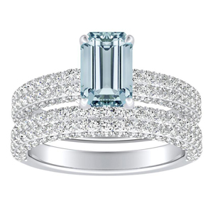 ALEXIA  Classic  Aquamarine  Wedding  Ring  Set  In  14K  White  Gold  With  1.00  Carat  Emerald  Stone