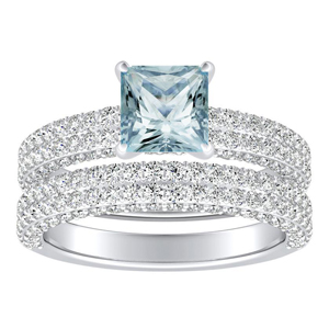 ALEXIA  Classic  Aquamarine  Wedding  Ring  Set  In  14K  White  Gold  With  1.00  Carat  Princess  Stone