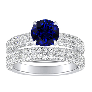 ALEXIA  Classic  Blue  Sapphire  Wedding  Ring  Set  In  14K  White  Gold  With  0.50  Carat  Round  Stone
