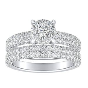 ALEXIA Classic Diamond Wedding Ring Set  In 14K White Gold With 0.25 Carat Round Diamond In H-I SI1-SI2 Quality