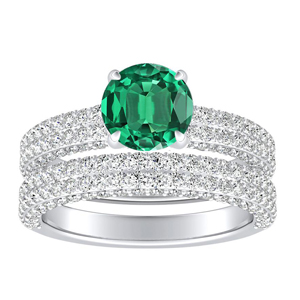 ALEXIA  Classic  Green  Emerald  Wedding  Ring  Set  In  14K  White  Gold  With  0.50  Carat  Round  Stone