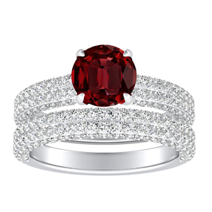 <span>ALEXIA</span> Classic  Ruby  Wedding  Ring  Set  In  14K  White  Gold  With  0.50  Carat  Round  Stone