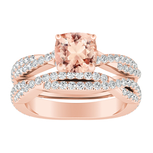 CALLIE  Twisted  Morganite  Wedding  Ring  Set  In  14K  Rose  Gold  With  1.00  Carat  Cushion  Stone