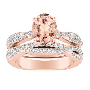 CALLIE  Twisted  Morganite  Wedding  Ring  Set  In  14K  Rose  Gold  With  1.00  Carat  Oval  Stone