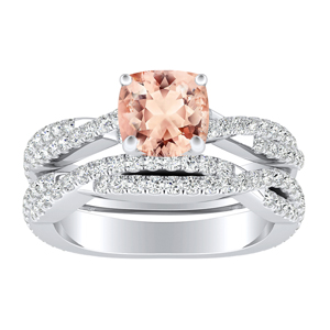 <span>CALLIE</span> Twisted  Morganite  Wedding  Ring  Set  In  14K  White  Gold  With  1.00  Carat  Cushion  Stone