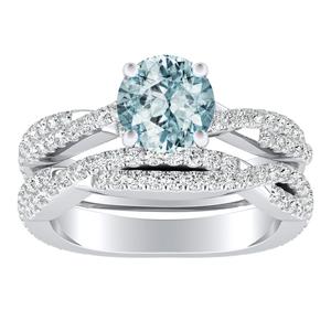 CALLIE  Twisted  Aquamarine  Wedding  Ring  Set  In  14K  White  Gold  With  1.00  Carat  Round  Stone