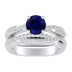 CALLIE  Twisted  Blue  Sapphire  Wedding  Ring  Set  In  14K  White  Gold  With  0.50  Carat  Round  Stone