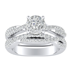 CALLIE Twisted Diamond Wedding Ring Set In 14K White Gold With 0.25 Carat Round Diamond In H-I SI1-SI2 Quality