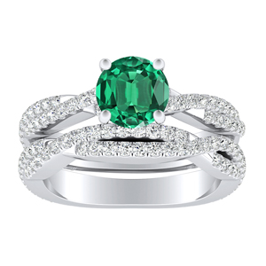 CALLIE  Twisted  Green  Emerald  Wedding  Ring  Set  In  14K  White  Gold  With  0.50  Carat  Round  Stone