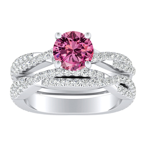 CALLIE  Twisted  Pink  Sapphire  Wedding  Ring  Set  In  14K  White  Gold  With  0.50  Carat  Round  Stone