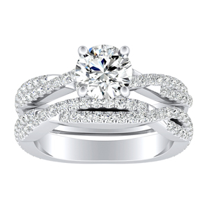 CALLIE Twisted Diamond Wedding Ring Set In 14K White Gold With 0.50ct. Round Diamond