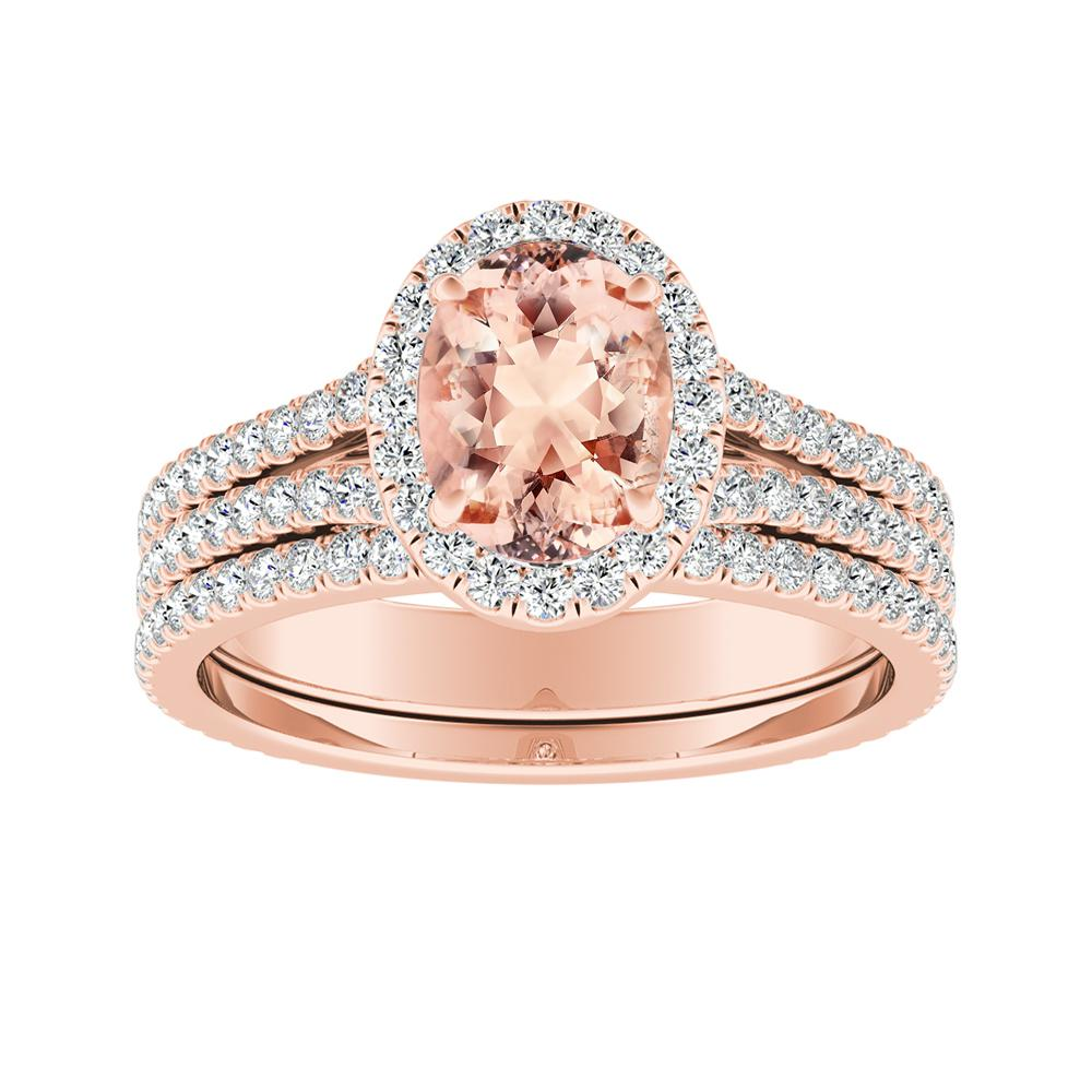 AUDREY Halo Morganite Wedding Ring Set In 14K Rose Gold With 1.00 Carat Oval Stone