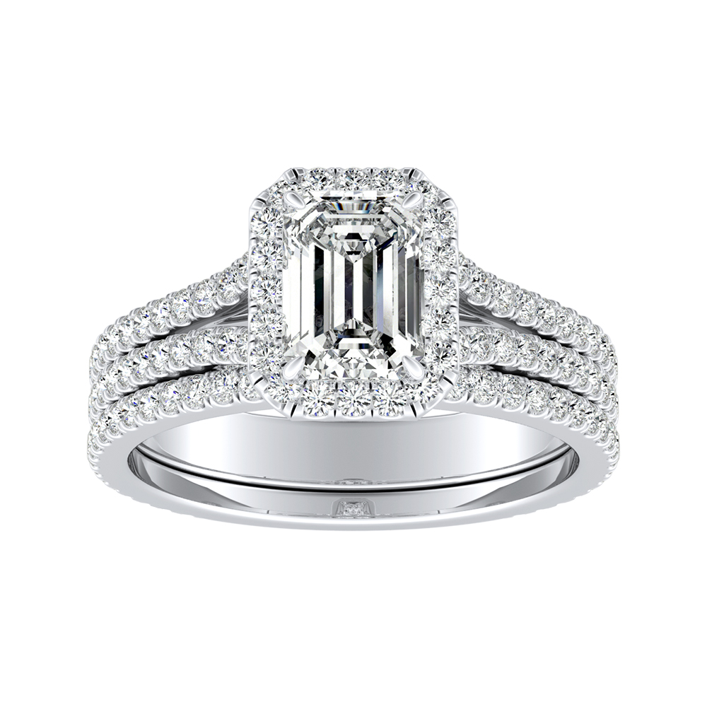 AUDREY Halo Diamond Wedding Ring Set In 14K White Gold