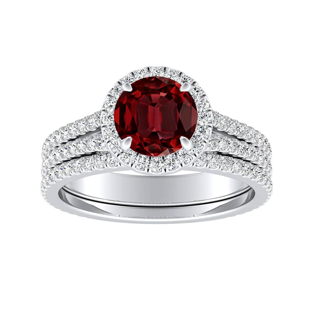 AUDREY Halo Ruby Wedding Ring Set In 14K White Gold With 0.50 Carat Round Stone