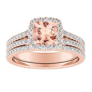 AUDREY  Halo  Morganite  Wedding  Ring  Set  In  14K  Rose  Gold  With  1.00  Carat  Cushion  Stone