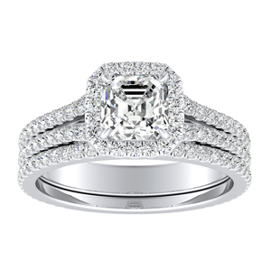 AUDREY Halo Diamond Wedding Ring Set In 14K White Gold