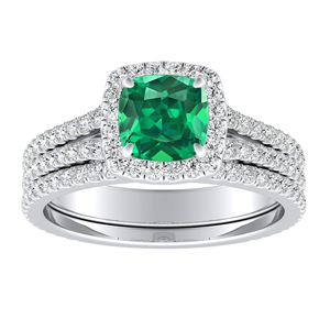 AUDREY  Halo  Green  Emerald  Wedding  Ring  Set  In  14K  White  Gold  With  0.50  Carat  Cushion  Stone