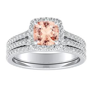 <span>AUDREY</span> Halo  Morganite  Wedding  Ring  Set  In  14K  White  Gold  With  1.00  Carat  Cushion  Stone