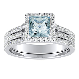 AUDREY  Halo  Aquamarine  Wedding  Ring  Set  In  14K  White  Gold  With  1.00  Carat  Princess  Stone