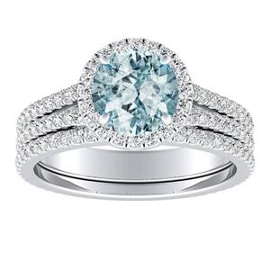 AUDREY  Halo  Aquamarine  Wedding  Ring  Set  In  14K  White  Gold  With  1.00  Carat  Round  Stone