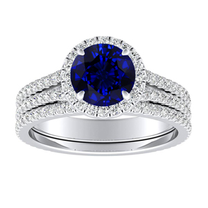 AUDREY  Halo  Blue  Sapphire  Wedding  Ring  Set  In  14K  White  Gold  With  0.50  Carat  Round  Stone