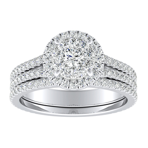 AUDREY Halo Diamond Wedding Ring Set In 14K White Gold With 0.25 Carat Round Diamond In H-I SI1-SI2 Quality