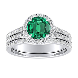 AUDREY  Halo  Green  Emerald  Wedding  Ring  Set  In  14K  White  Gold  With  0.50  Carat  Round  Stone