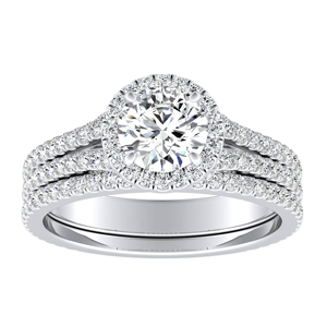 AUDREY Halo Diamond Wedding Ring Set In 14K White Gold With 0.50ct. Round Diamond
