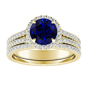 AUDREY  Halo  Blue  Sapphire  Wedding  Ring  Set  In  14K  Yellow  Gold  With  0.50  Carat  Round  Stone