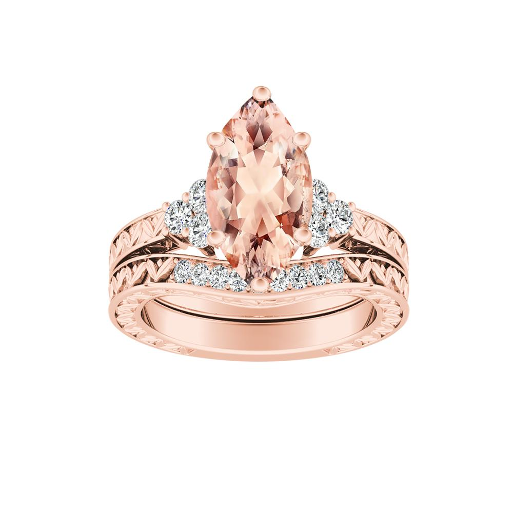 VICTORIA Vintage Style Morganite Wedding Ring Set In 14K Rose Gold With 1.00 Carat Marquise Stone
