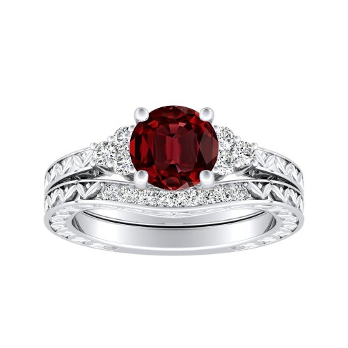 Victoria vintage style ruby wedding ring set in 14k white gold with victoria vintage style ruby wedding ring set in 14k white gold with 050 carat round stone junglespirit Image collections