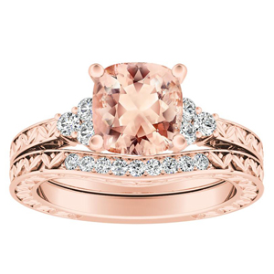VICTORIA  Vintage  Style  Morganite  Wedding  Ring  Set  In  14K  Rose  Gold  With  1.00  Carat  Cushion  Stone