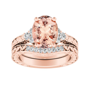 VICTORIA Vintage Style Morganite Wedding Ring Set In 14K Rose Gold With 1.00 Carat Oval Stone