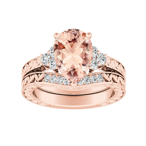 VICTORIA Vintage Style Morganite Wedding Ring Set In 14K Rose Gold With 1.00 Carat Pear Stone