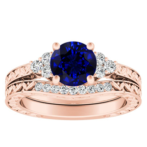 VICTORIA  Vintage  Style  Blue  Sapphire  Wedding  Ring  Set  In  14K  Rose  Gold  With  0.50  Carat  Round  Stone