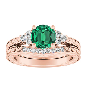 VICTORIA  Vintage  Style  Green  Emerald  Wedding  Ring  Set  In  14K  Rose  Gold  With  0.50  Carat  Round  Stone