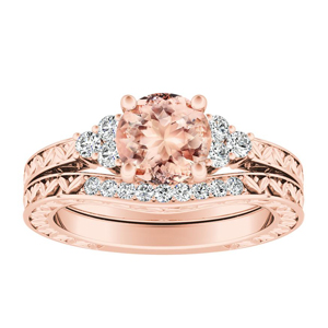 VICTORIA Vintage Style Morganite Wedding Ring Set In 14K Rose Gold With 1.00 Carat Round Stone